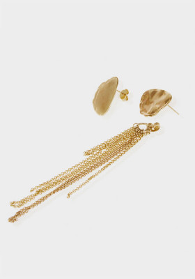 Charm's set - Hammered medal, beige cristal and mini-cone